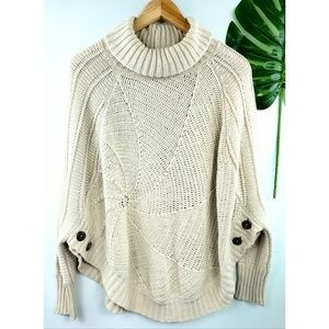Angel of the North cowl neck sweater side button S